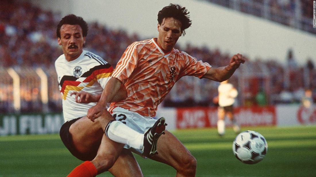 The Netherlands' loud and geometric 1988 European Championship kit was immortalized by victory and Marco van Basten scoring one of the greatest goals in history during the final against the Soviet Union.