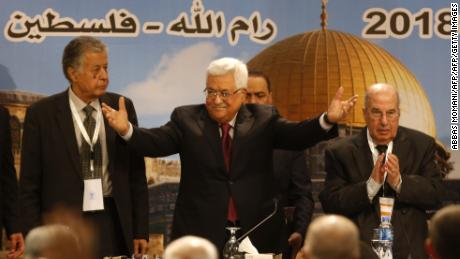 Palestinian Authority President Mahmoud Abbas gestures as he chairs a Palestinian National Council meeting on Monday.