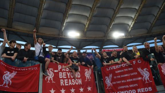 Liverpool fans celebrate reaching a first Champions League final in 11 years.