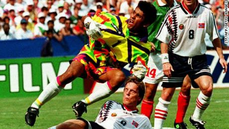 Mexico's goalkeeper kit from the World Cup in 1994, worn by Jorge Campos.