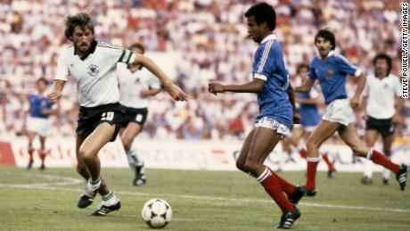 Germany's black and white kit, worn here in the 1982 World Cup semifinal by Manfred Kaltz.