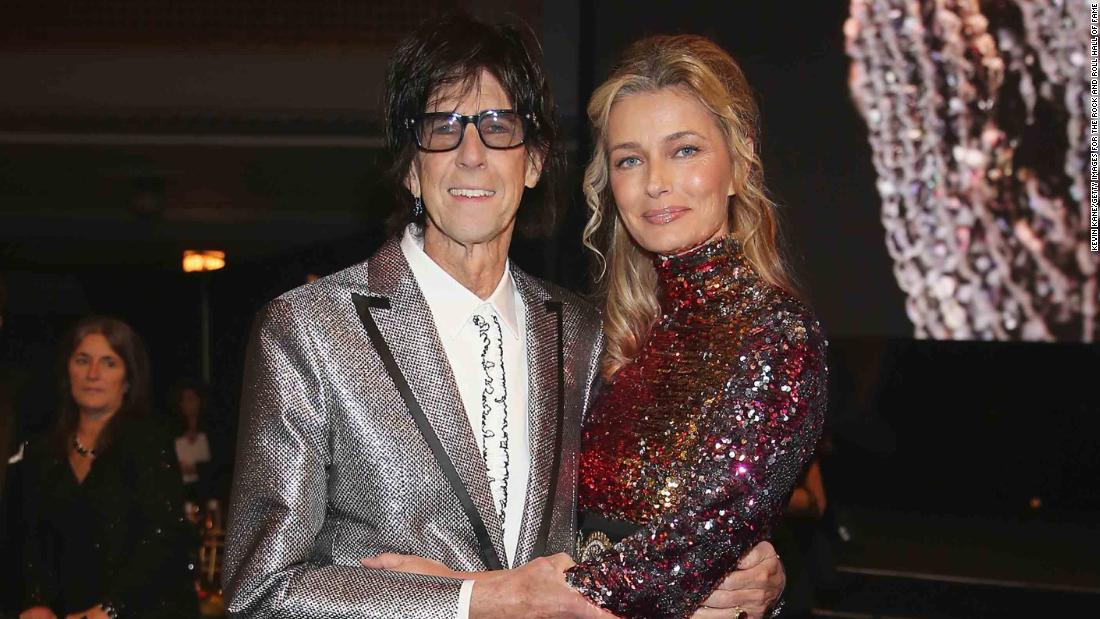 "Ric Ocasek of the Cars and Paulina Porizkova attend the Rock & Roll Hall of Fame induction ceremony in Cleveland in April 2018. A few weeks later Porizkova <a href=""https://www.instagram.com/p/BiR_9hZjNMp/?taken-by=paulinaporizkov"" target=""_blank"">announced on Instagram that the couple have been separated for a year. </a>"