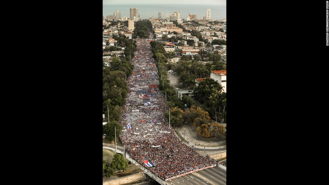 "People march to Revolution Square in Havana, Cuba, on Tuesday, May 1. Demonstrators around the world <a href=""https://www.cnn.com/2018/05/01/world/may-day-rallies-around-the-world-intl/index.html"" target=""_blank"">took to the streets</a> on International Workers' Day -- aka May Day -- to demand better working conditions."
