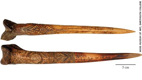 Bone daggers of the Sepik watershed, New Guinea. (a) Human bone dagger attributed to the Upper Sepik River. (b) Cassowary bone dagger attributed to the Abelam people