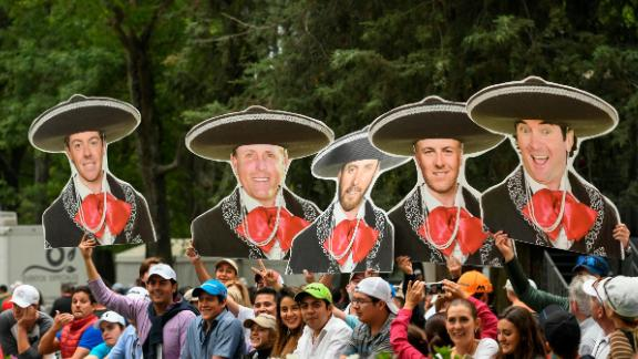 MEXICO CITY, MEXICO - MARCH 04: Fans hold up card board mariachi cutouts of Rory McIlroy, Phil Mickelson, Dustin Johnson, Jordan Spieth, and Bubba Watson during the third round of the World Golf Championships-Mexico Championship at Club de Golf Chapultepec on March 4, 2017 in Mexico City, Mexico. (Photo by Ryan Young/PGA TOUR)