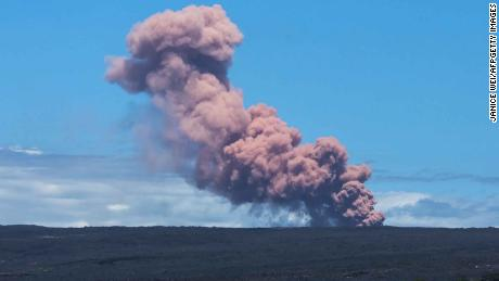 An ash plume rises Thursday above the Kilauea volcano on Hawaii's Big Island.