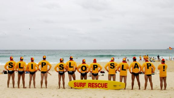 Volunteer lifesavers unite for the anti-skin cancer Slip Slop Slap campaign at Bondi Beach in Sydney in January 2006.
