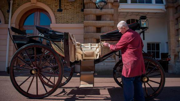 The newlyweds will travel in an Ascot Landau carriage, pictured, for a roughly two-mile procession through Windsor on May 19.