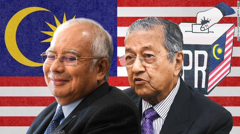 Incumbent Prime Minister Najib Razak, left, faces a challenge from former Prime Minister Mahathir Mohamad, right.