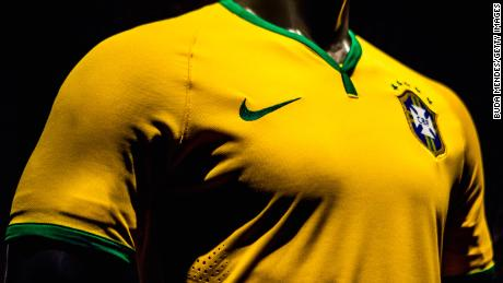 RIO DE JANEIRO, BRAZIL - NOVEMBER 24: Brazil's football team jersey for the 2014 FIFA World Cup is unveiled on November 24, 2013 in Rio de Janeiro, Brazil.  (Photo by Buda Mendes/Getty Images)
