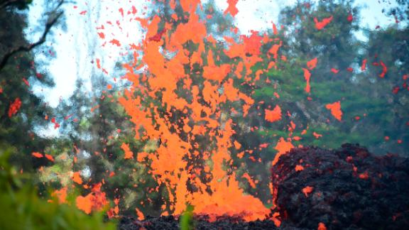 Lava is seen coming from a fissure in Leilani Estates subdivision on Hawaii's Big Island on May 4, 2018.