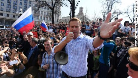 Russian opposition leader Alexei Navalny addresses supporters Saturday at an anti-Putin rally in Moscow.
