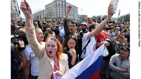 Demonstrators at an anti-Putin rally in Moscow on Saturday.