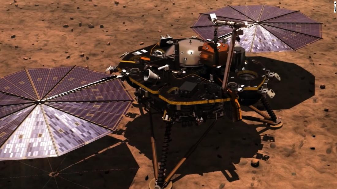 This illustration shows the InSight lander as scientists and engineers first pictured how it would look on the Martian surface.