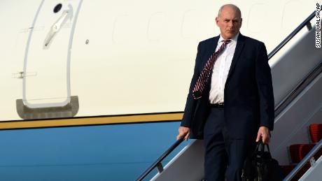 White House chief of staff John Kelly walks down the steps of Air Force One at Andrews Air Force Base in Md., Friday, May 4, 2018. Kelley joined President Donald Trump on a trip to Dallas where Trump spoke at the NRA convention. (AP Photo/Susan Walsh)