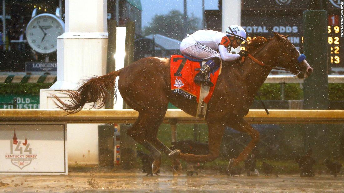 Justify, trained by five-time Kentucky Derby winner Bob Baffert, won last year's rain-soaked event on his way to winning the prestigious Triple Crown, which also includes the Preakness Stakes and the Belmont Stakes.