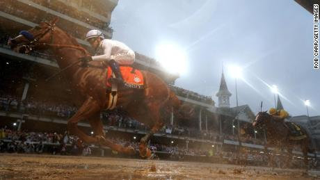 Justify crosses the finish line at last year's Kentucky Derby.