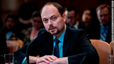 Russian activist Vladimir Kara-Murza speaks during a hearing of the US Senate Appropriations Subcommittee on State, Foreign Operations and Related Programs on Capitol Hill March 29, 2017 in Washington, DC. U.S. Senator Lindsey Graham (R-South Carolina), the Chairman of the Senate Appropriations Subcommittee on State, Foreign Operations and Related Programs, held a hearing on March 29 entitled Civil Society Perspectives on Russia regarding Russias use of influence and aggression, particularly in a regional context. Among the witnesses, Graham questionned Mr. Vladimir Kara-Murza, a vocal critic of Vladimir Putin who has twice been a target of poisoning.     / AFP PHOTO / Brendan Smialowski        (Photo credit should read BRENDAN SMIALOWSKI/AFP/Getty Images)