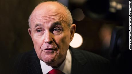 "Rudolph Giuliani, former mayor of New York, speaks to members of the media in the lobby of Trump Tower in New York, U.S., on Thursday, Jan. 12, 2017. Giuliani ""will be sharing his expertise and insight as a trusted friend"" on private-sector cyber security problems, President-elect Donald Trump's transition team said in a statement. Photographer: John Taggart/Bloomberg via Getty Images"