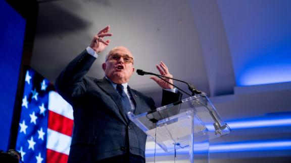 Rudy Giuliani, an attorney for President Donald Trump, speaks at the Iran Freedom Convention for Human Rights and democracy at the Grand Hyatt, Saturday, May 5, 2018, in Washington. (AP Photo/Andrew Harnik)