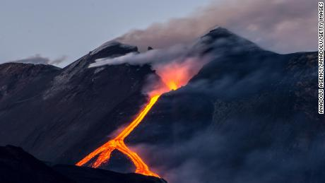 Lava flows from a volcanic vent in Italy.