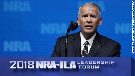 DALLAS, TX - MAY 04:  Lt. Colonel Oliver North speaks at the NRA-ILA Leadership Forum during the NRA Annual Meeting & Exhibits at the Kay Bailey Hutchison Convention Center on May 4, 2018 in Dallas, Texas.  The National Rifle Association's annual meeting and exhibit runs through Sunday.  (Photo by Justin Sullivan/Getty Images)
