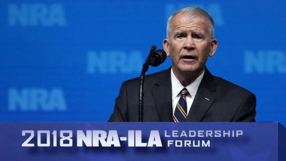 DALLAS, TX - MAY 04:  Lt. Colonel Oliver North speaks at the NRA-ILA Leadership Forum during the NRA Annual Meeting & Exhibits at the Kay Bailey Hutchison Convention Center on May 4, 2018 in Dallas, Texas.  The National Rifle Association