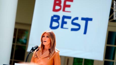 "First lady Melania Trump speaks on her initiatives during an event in the Rose Garden of the White House, Monday, May 7, 2018, in Washington.  The first lady gave her multipronged effort to promote the well-being of children a minimalist new motto: ""BE BEST.""  The first lady formally launched her long-awaited initiative after more than a year of reading to children, learning about babies born addicted to drugs and hosting a White House conversation on cyberbullying.   (AP Photo/Andrew Harnik)"