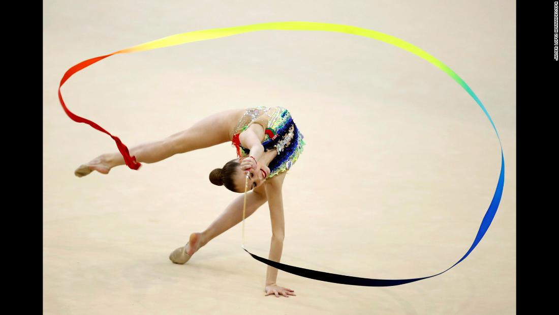 Anastasiia Salos, a rhythmic gymnast from Belarus, performs during an event in Guadalajara, Spain, on Saturday, May 5.