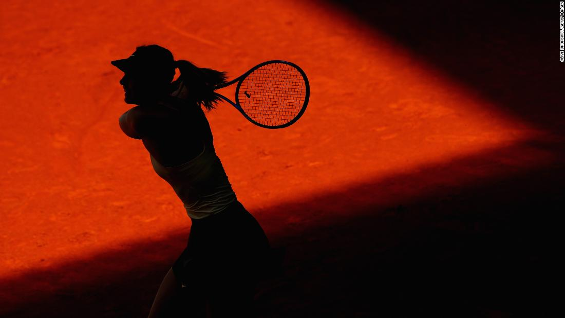 Maria Sharapova hits a shot during a first-round match at the Madrid Open on Sunday, May 6.