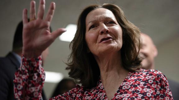 WASHINGTON, DC - Gina Haspel, nominee to be director of the CIA, waves as she arrives at a meeting with US Sen. Joe Manchin (D-WV) May 7, 2018, on Capitol Hill in Washington, DC.