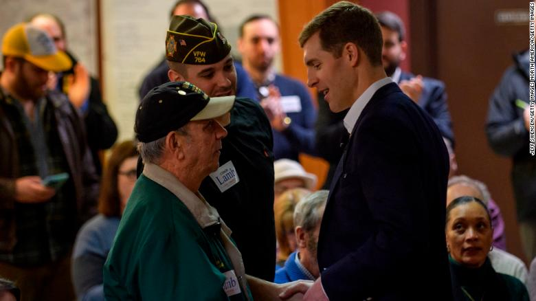 HOUSTON, PA - JANUARY 13: Democrat Conor Lamb, a former U.S. attorney and US Marine Corps veterans running to represent Pennsylvania's 18th congressional district, speaks to an audience at the American Legion Post 902 on January 13, 2018 in Houston, Pennsylvania in the southwestern corner of the state. President Donald Trump plans to visit Pennsylvania's 18th Congressional District next week in a bid to help Lamb's republican opponent, Rick Saccone. (Photo by Jeff Swensen/Getty Images)
