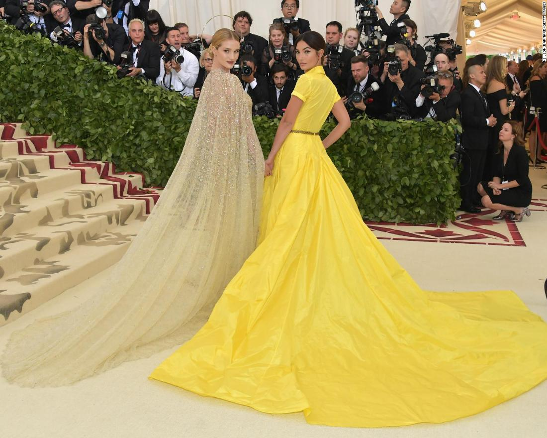 "Rosie Huntington-Whiteley and other stars donned elaborate accessories, including crowns and veils to celebrate the gala's theme, ""Heavenly Bodies: Fashion and the Catholic Imagination."