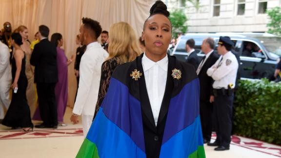 Emmy winner Lena Waithe wore a rainbow-colored cape.