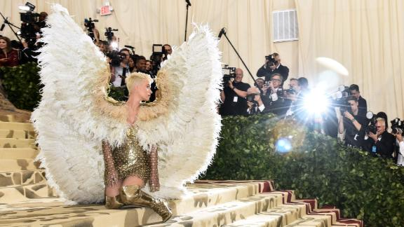 Katy Perry looks angelic with wings on the red carpet.