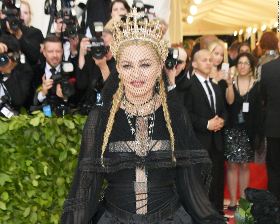 "Madonna's outfit was one of the most anticipated of the evening. The singer -- who had her own bout of controversy with the Catholic Church when she released her 1989 music video for ""Like a Prayer"" -- wore an all-black ensemble, complete with a diamond-encrusted headdress."
