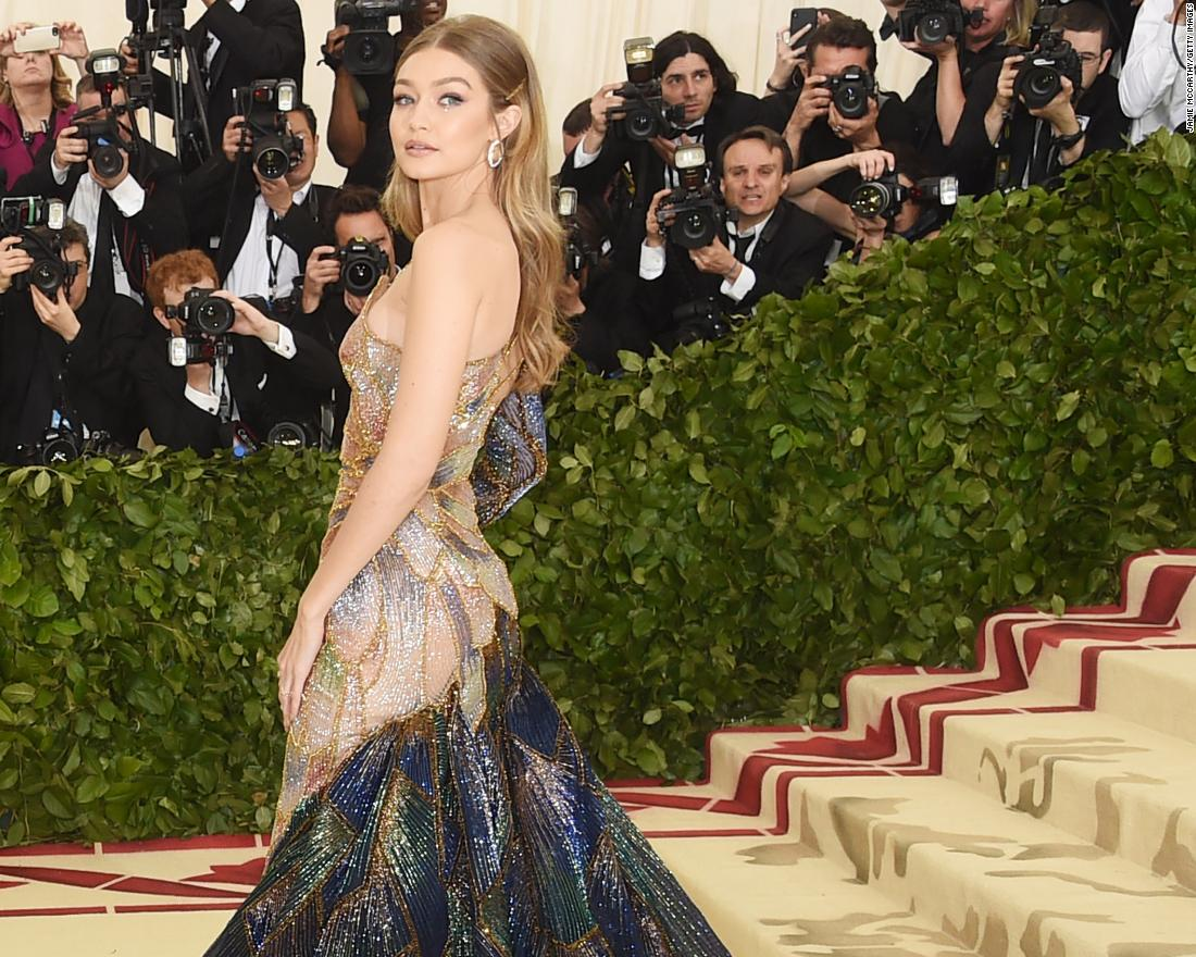 Model Gigi Hadid walks the red carpet. Given the theme, there was plenty of religious imagery.  <br />