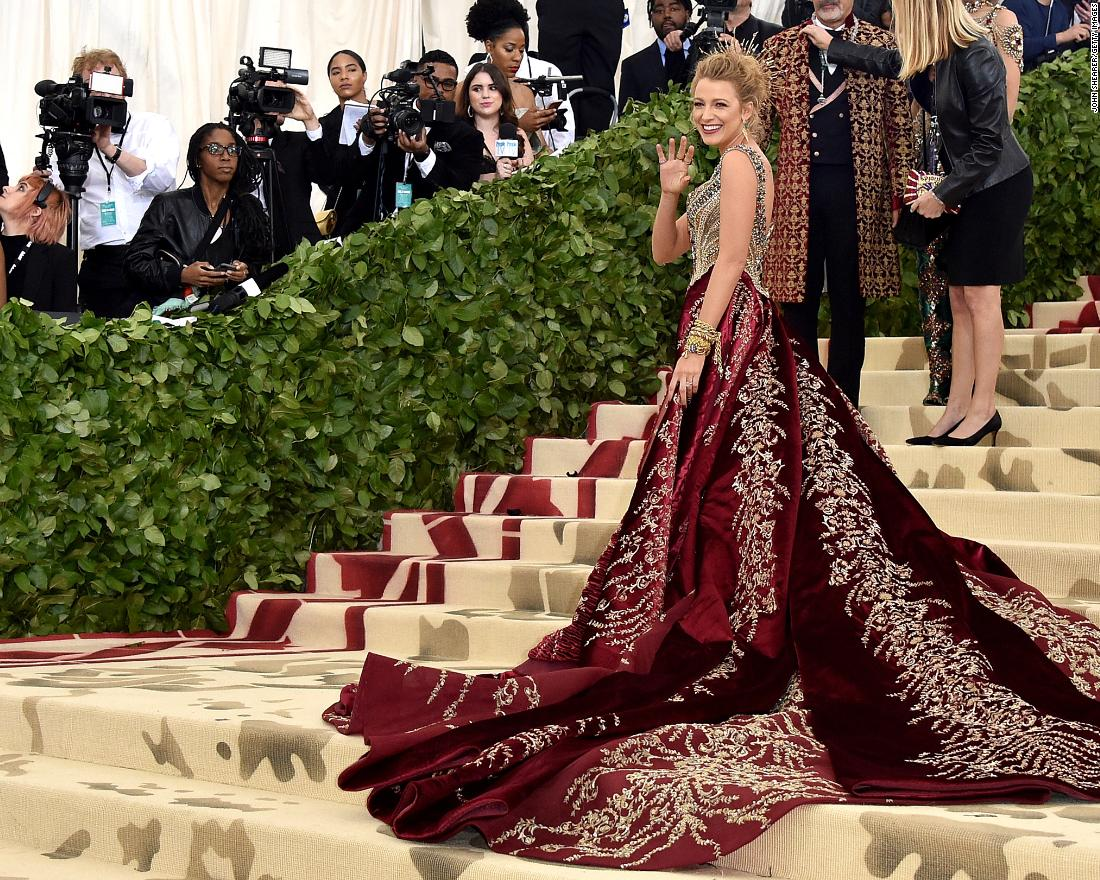 Blake Lively wears a Versace gown  at the Met Gala in New York on Monday, May 7. The invitation-only event raises money for the Metropolitan Museum of Art's Costume Institute.
