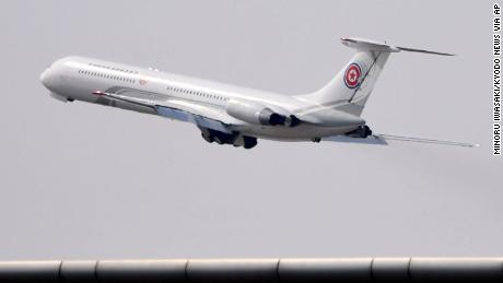 A plane reportedly used for high-ranking North Korean officials takes off from an airport in Dalian on Tuesday.