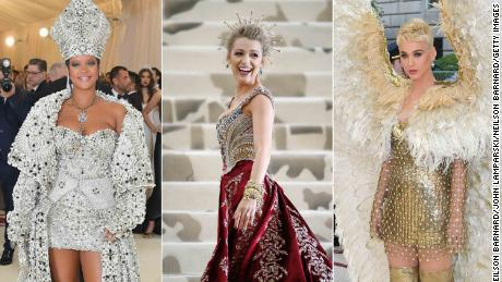 Rihanna, Blake Lively, Katy Perry at Fashion & The Catholic Imagination Costume Institute Gala at The Metropolitan Museum of Art on May 7, 2018 in New York City.