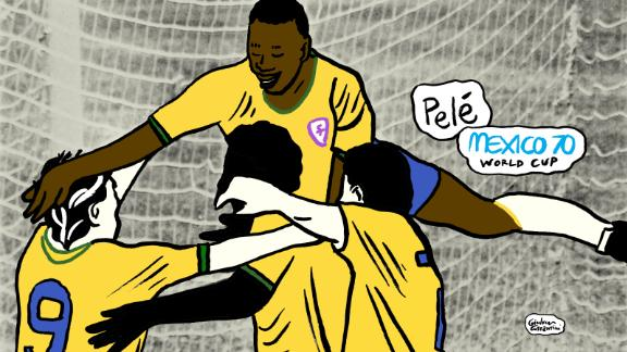 Brazil's 100th World Cup goal, celebrated wildly by Pele, who jumped into the air with joy as his side took the lead in the final against Italy. The game ended 4-1 to Brazil -- their third World Cup victory.