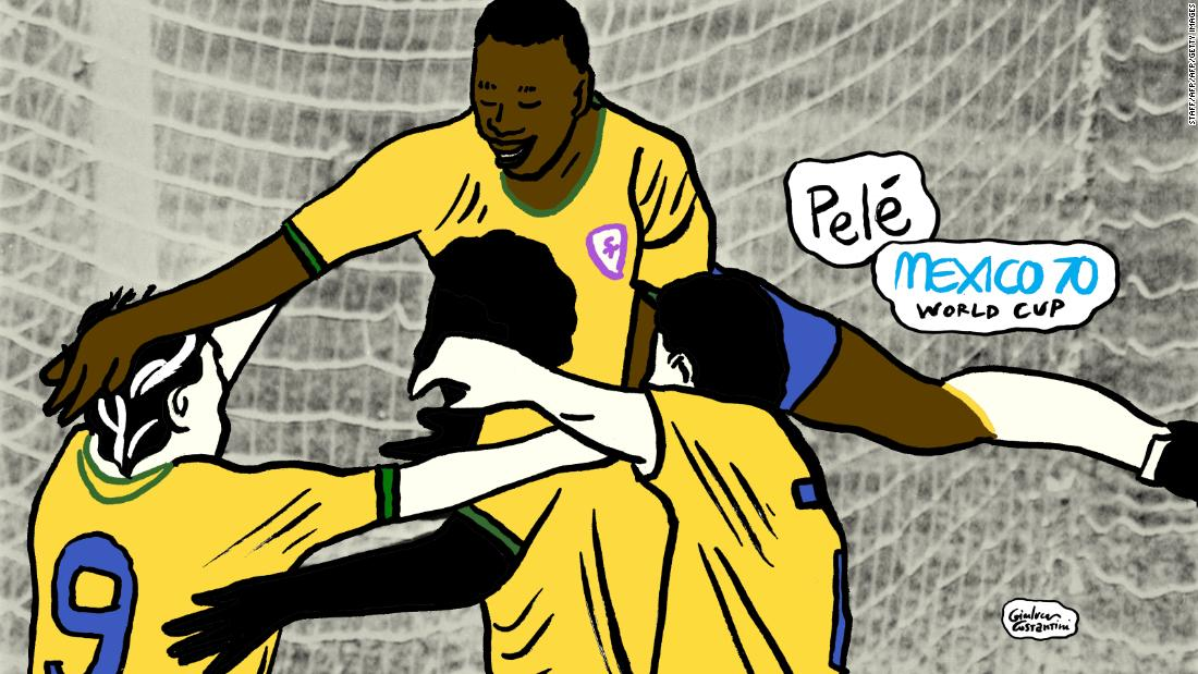 Brazil&   #39;s 100th World Cup goal, celebrated wildly by Pele, who jumped into the air with joy as his side took the lead in the final against Italy. The game ended 4-1 to Brazil -- their third World Cup victory.