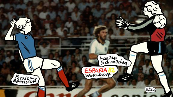 An ugly moment. German goalkeeper Harald Schumacher clattered into France's Patrick Battiston, who was through on goal, knocking him unconscious at the 1982 semifinal in Spain. Schumacher was unmoved as his opponent was stretchered off the field.