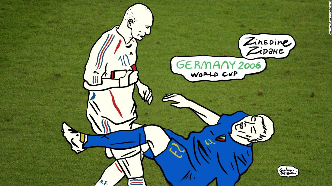 A rush of blood to the head. With the 2006 World Cup final moving into extra-time, goalscorer Marco Materazzi muttered a few words to France legend Zinedine Zidane, who returned with a headbutt to the Italian's chest. In his last ever professional match, Zidane was red carded and Italy went on to win on penalties.