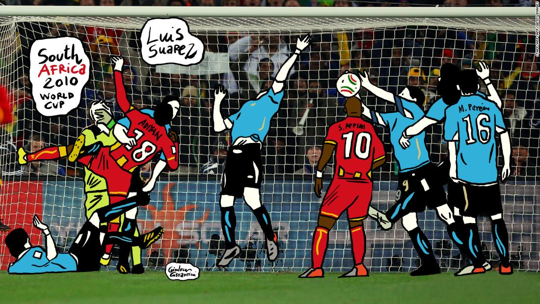 Another South American -- this time Uruguayan Luis Suarez -- another handball. This one, however, was less subtle. Suarez's hands prevented Ghana from bagging a winner in extra-time. He saw red, and Asamoah Gyan's whacked the resulting penalty against the bar. Uruguay went on to win on penalties.