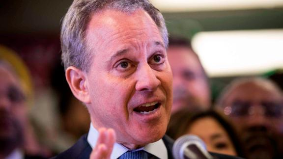 NEW YORK, NY - APRIL 3: New York Attorney General Eric Schneiderman speaks at a press conference to announce a multi-state lawsuit to block the Trump administration from adding a question about citizenship to the 2020 Census form, at the headquarters of District Council 37, New York City's largest public employee union, April 3, 2018 in New York City. Critics of President Donald Trump's administration's decision to reinstate the citizenship question contend that that it will frighten people in immigrant communities from responding to the census. The Trump administration has stated a citizenship question on the census will help enforce voting rights. (Photo by Drew Angerer/Getty Images)