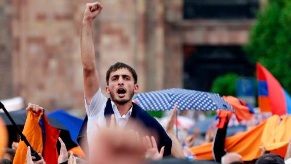 People cheer in Republic Square, Yerevan, after Pashinyan was elected prime minister.