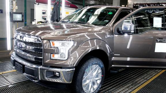 DEARBORN, MI - NOVEMBER 11:  A new 2015 Ford F-150 truck goes through the assembly line at the Ford Dearborn Truck Plant November 11, 2014 in Dearborn, Michigan. The new 2015 F-150 is the first mass-produced truck in its class featuring a high-strength, military-grade, aluminum-alloy body and bed. (Photo by Bill Pugliano/Getty Images)