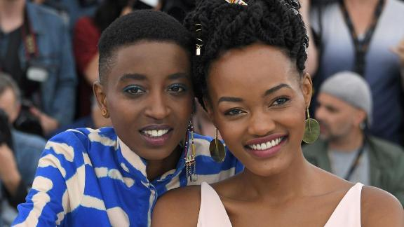 Kenyan actors Samantha Mugatsia and Sheila Munyiva at Cannes Film Festival.