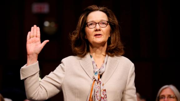 CIA nominee Gina Haspel is sworn in during a confirmation hearing of the Senate Intelligence Committee on Capitol Hill, Wednesday, May 9, 2018 in Washington. (AP/Alex Brandon)